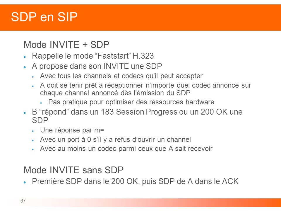 SDP en SIP Mode INVITE + SDP Mode INVITE sans SDP