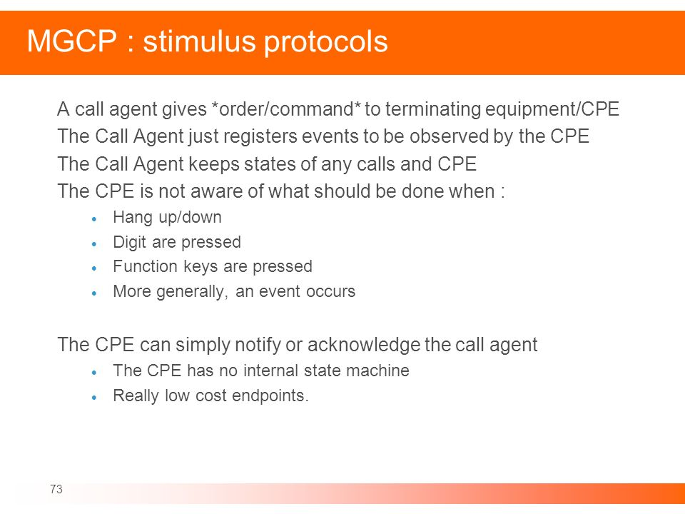 MGCP : stimulus protocols