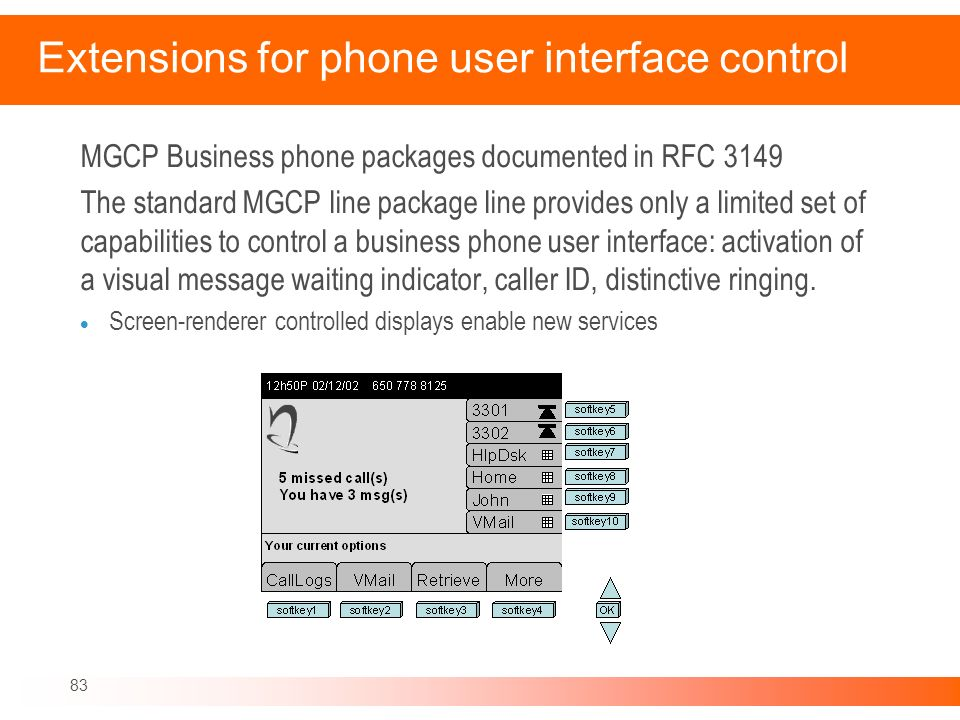 Extensions for phone user interface control