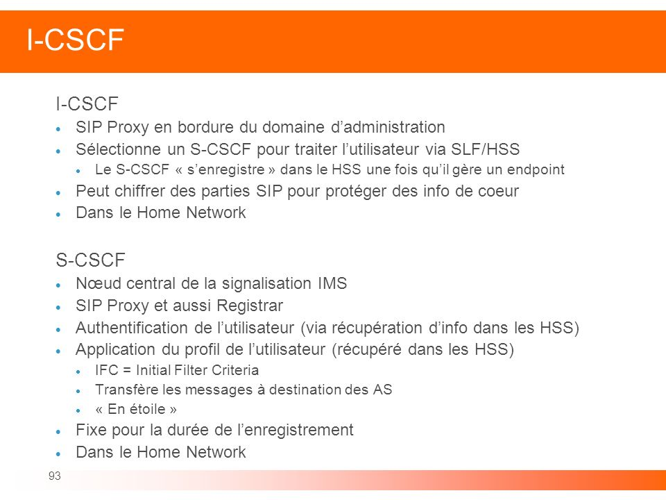 I-CSCF I-CSCF S-CSCF SIP Proxy en bordure du domaine d'administration