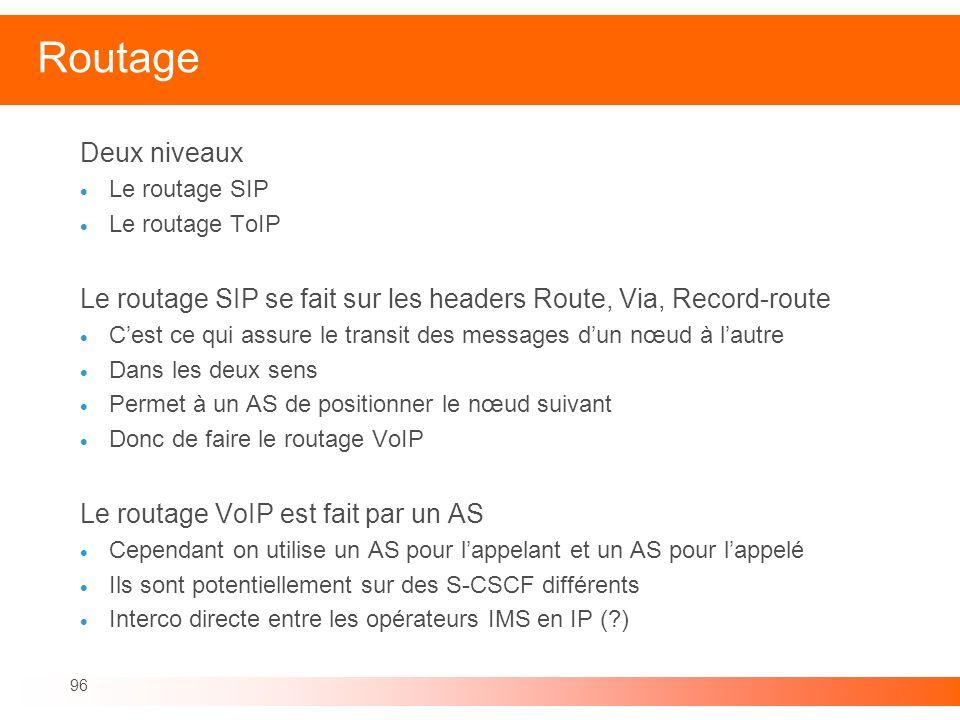 Routage Deux niveaux. Le routage SIP. Le routage ToIP. Le routage SIP se fait sur les headers Route, Via, Record-route.