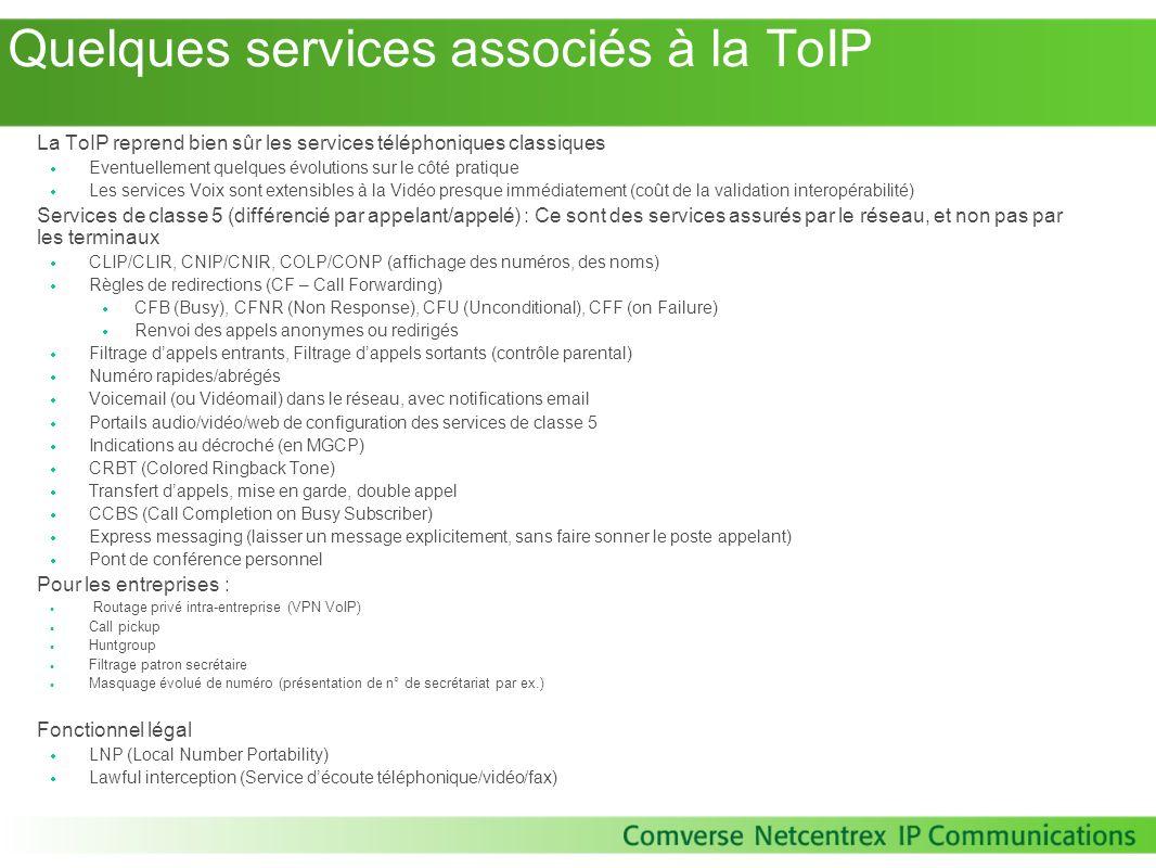 Quelques services associés à la ToIP