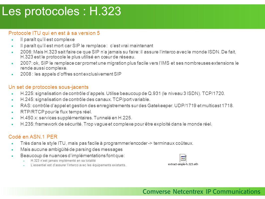 Les protocoles : H.323 Protocole ITU qui en est à sa version 5