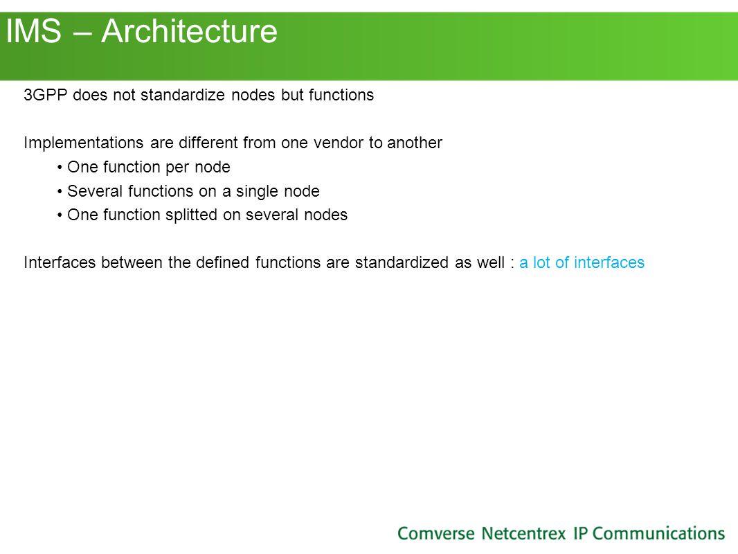 IMS – Architecture 3GPP does not standardize nodes but functions
