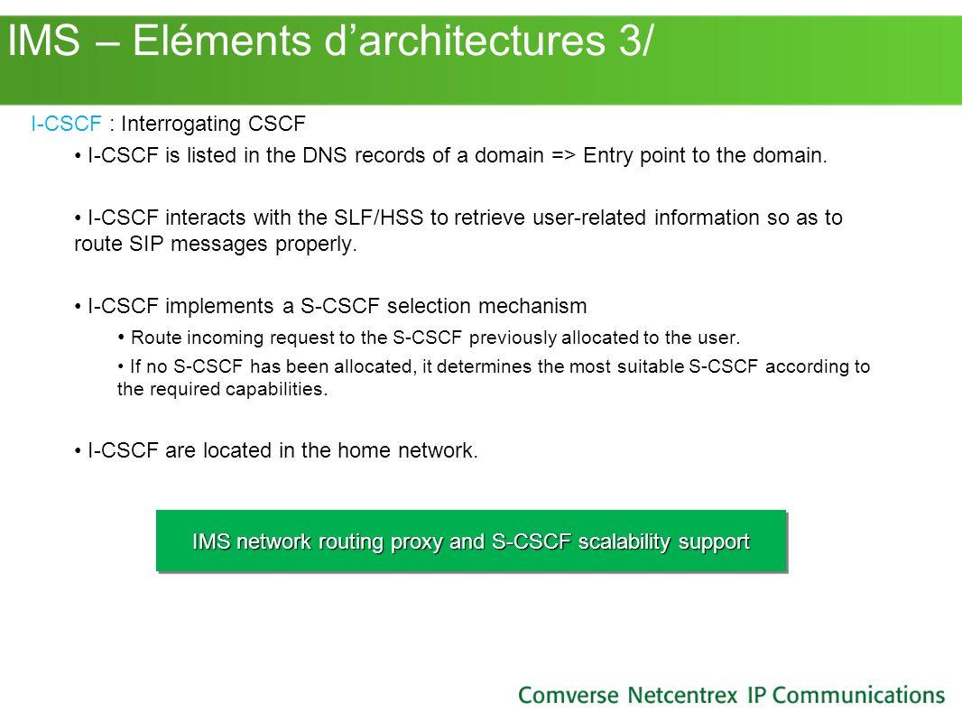 IMS – Eléments d'architectures 3/