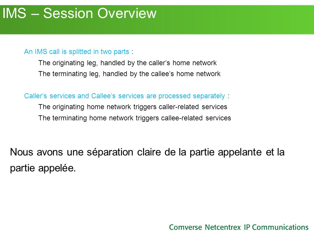 IMS – Session Overview An IMS call is splitted in two parts : The originating leg, handled by the caller's home network.