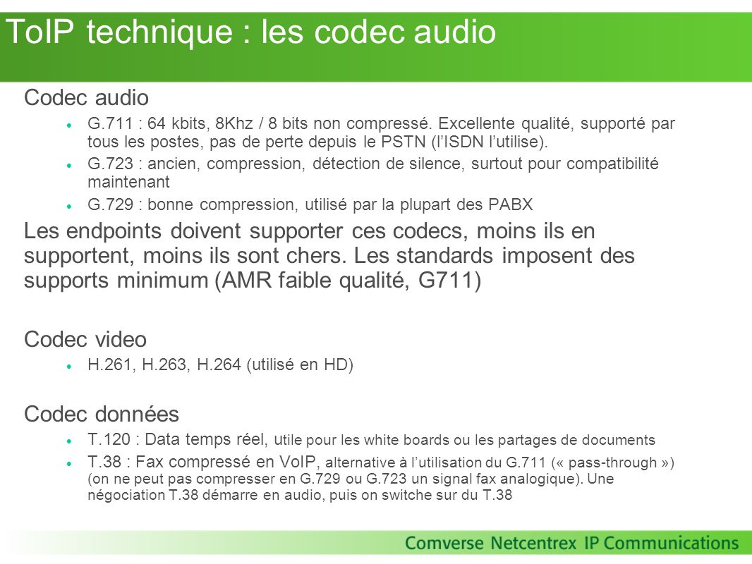 ToIP technique : les codec audio