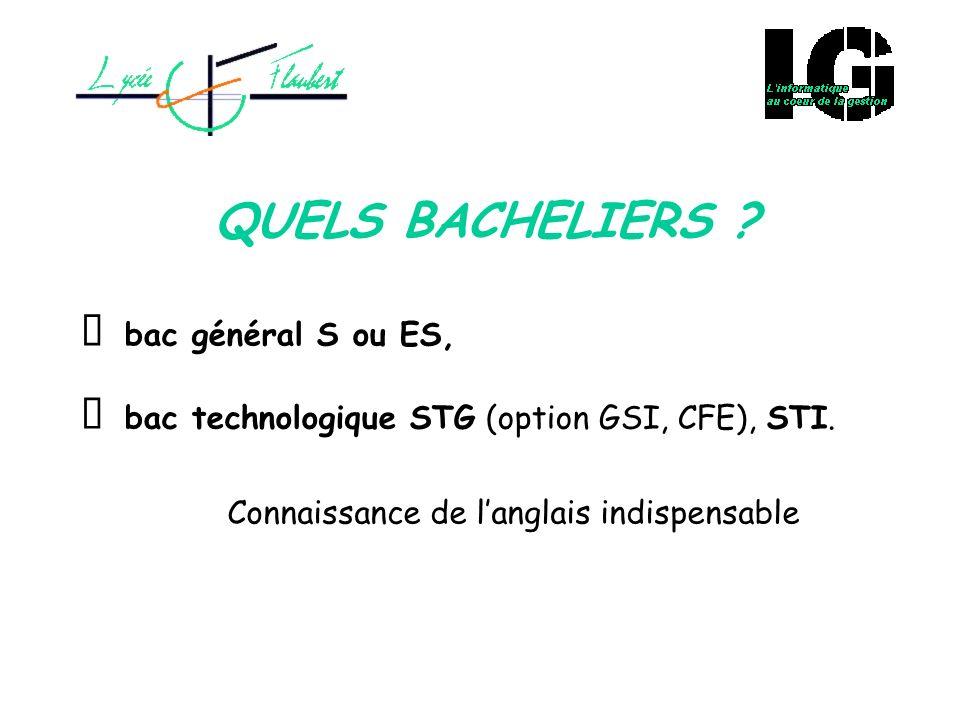QUELS BACHELIERS Ø bac général S ou ES,