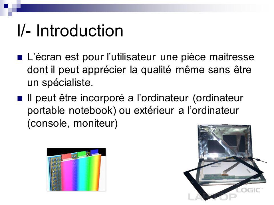 I/- Introduction L'écran est pour l'utilisateur une pièce maitresse dont il peut apprécier la qualité même sans être un spécialiste.
