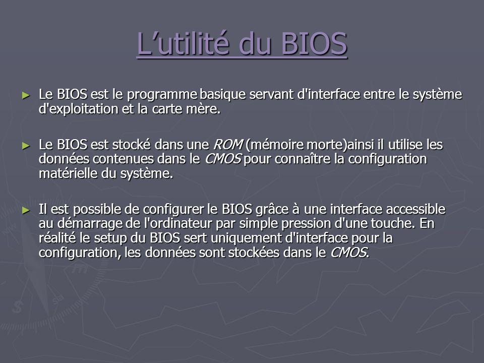 L'utilité du BIOS Le BIOS est le programme basique servant d interface entre le système d exploitation et la carte mère.