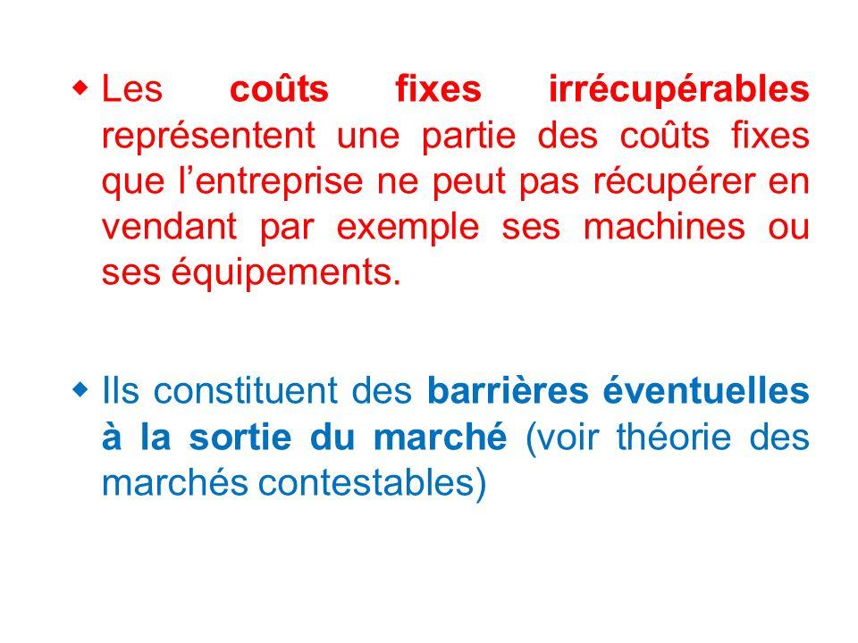 Les coûts fixes irrécupérables représentent une partie des coûts fixes que l'entreprise ne peut pas récupérer en vendant par exemple ses machines ou ses équipements.