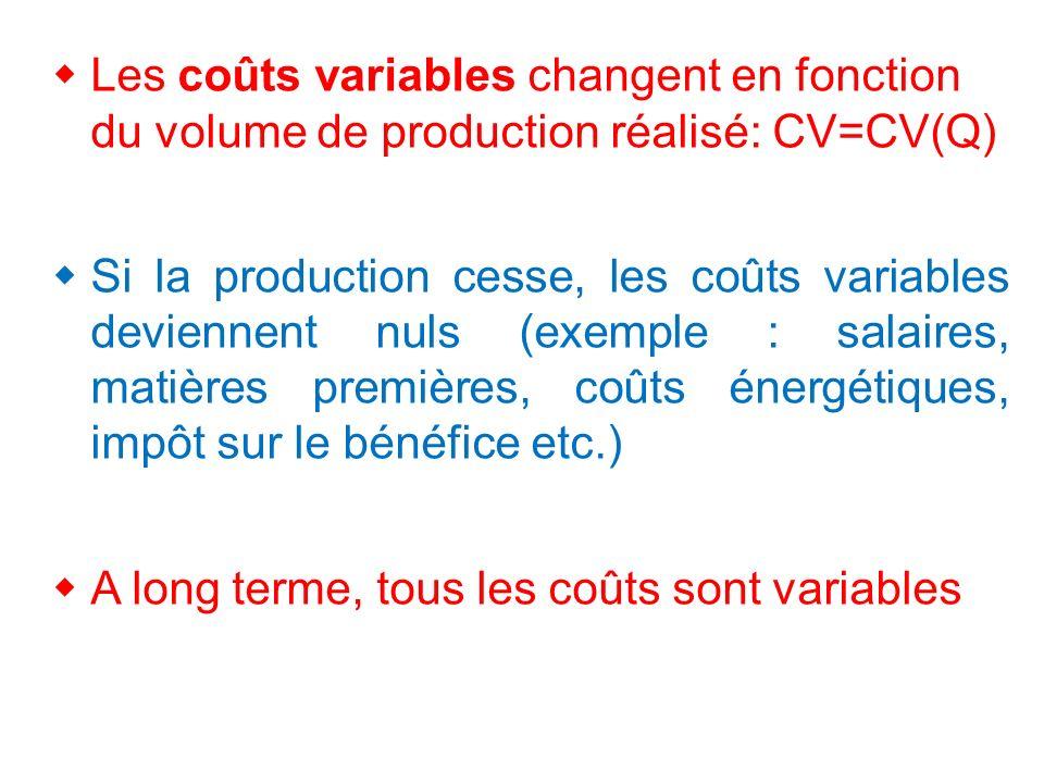 Les coûts variables changent en fonction du volume de production réalisé: CV=CV(Q)