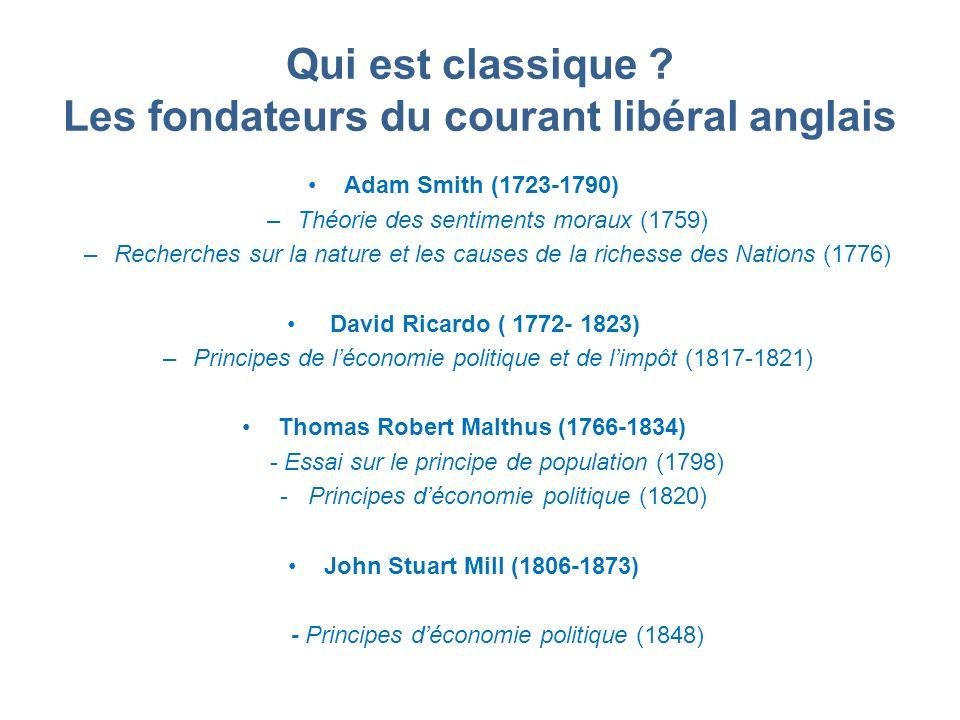 Qui est classique Les fondateurs du courant libéral anglais