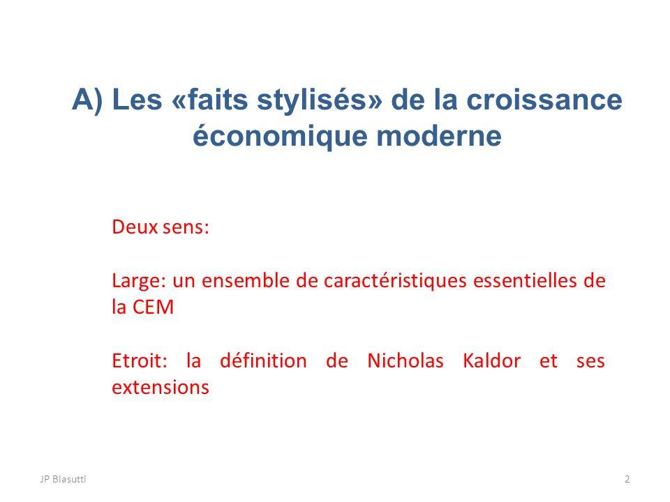A) Les «faits stylisés» de la croissance économique moderne