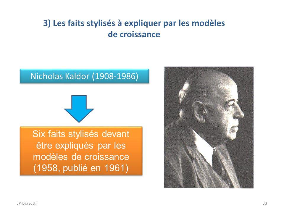 3) Les faits stylisés à expliquer par les modèles