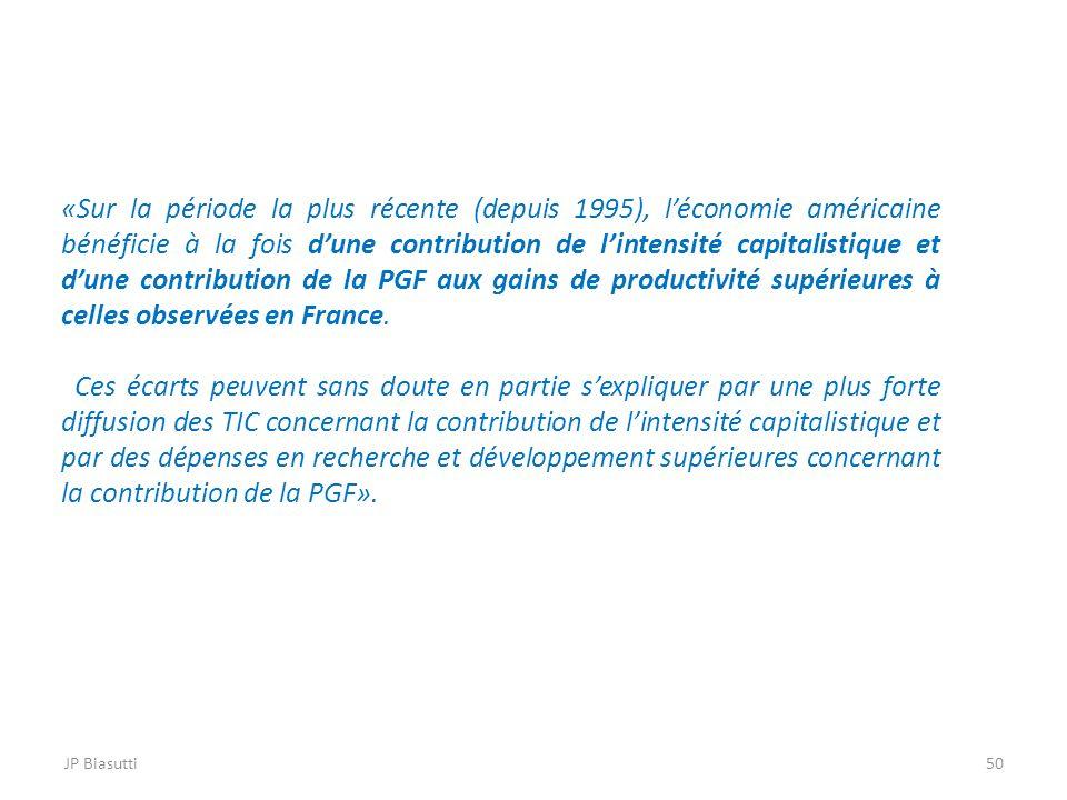 «Sur la période la plus récente (depuis 1995), l'économie américaine bénéficie à la fois d'une contribution de l'intensité capitalistique et d'une contribution de la PGF aux gains de productivité supérieures à celles observées en France.