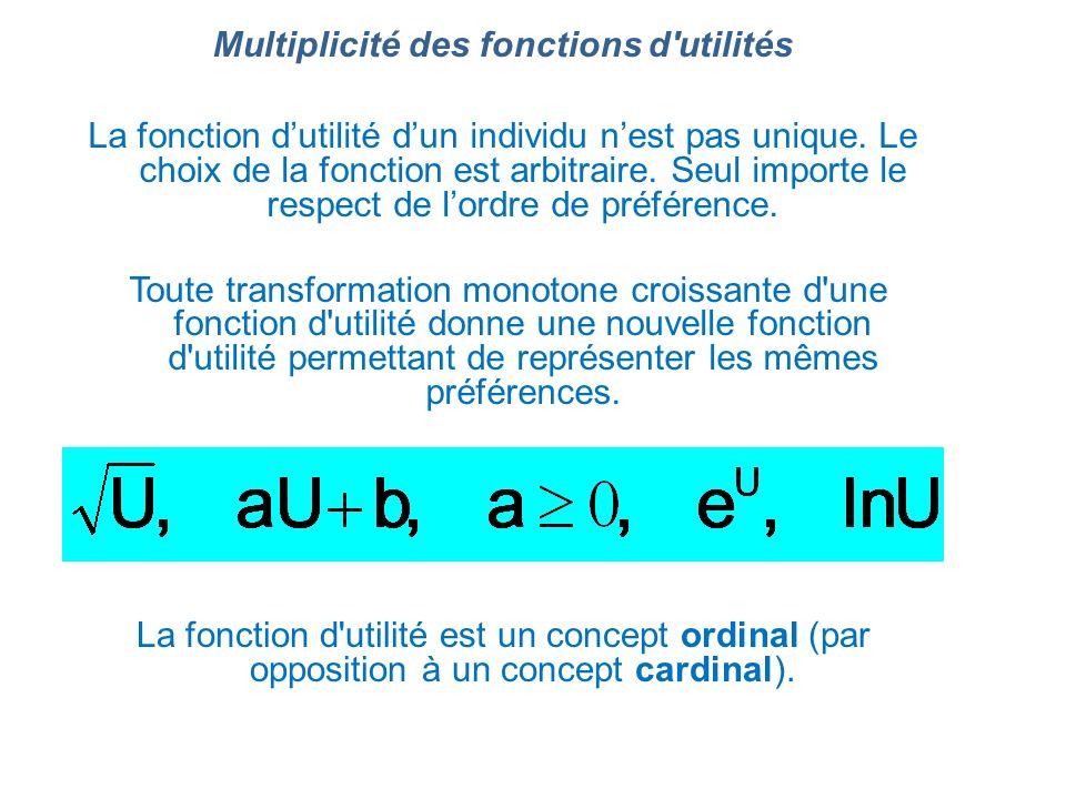Multiplicité des fonctions d utilités