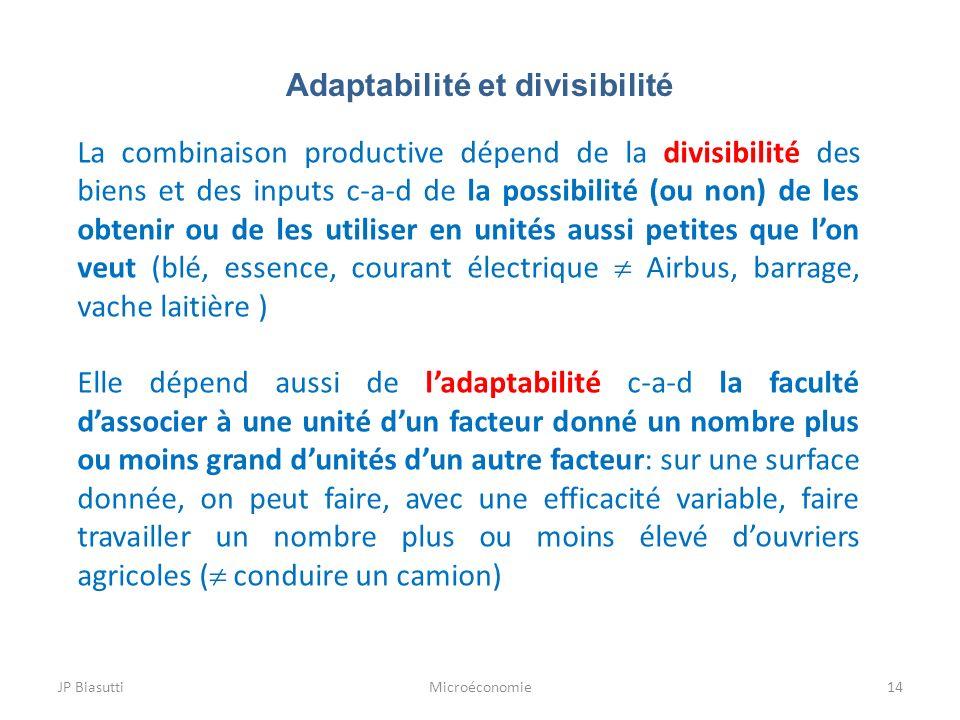 Adaptabilité et divisibilité