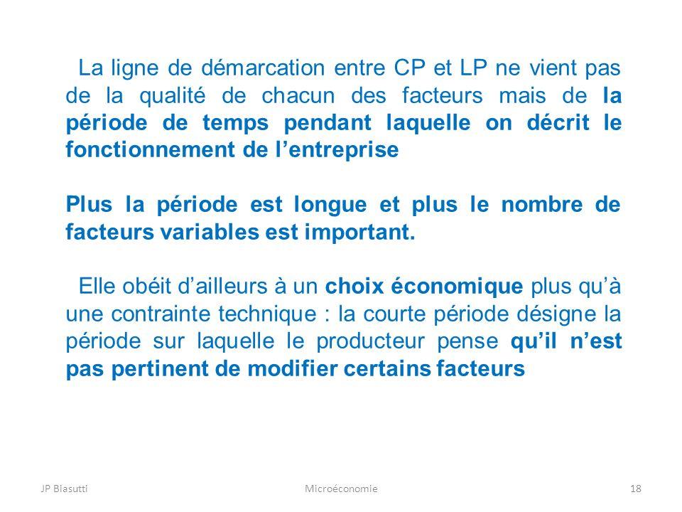 La ligne de démarcation entre CP et LP ne vient pas de la qualité de chacun des facteurs mais de la période de temps pendant laquelle on décrit le fonctionnement de l'entreprise