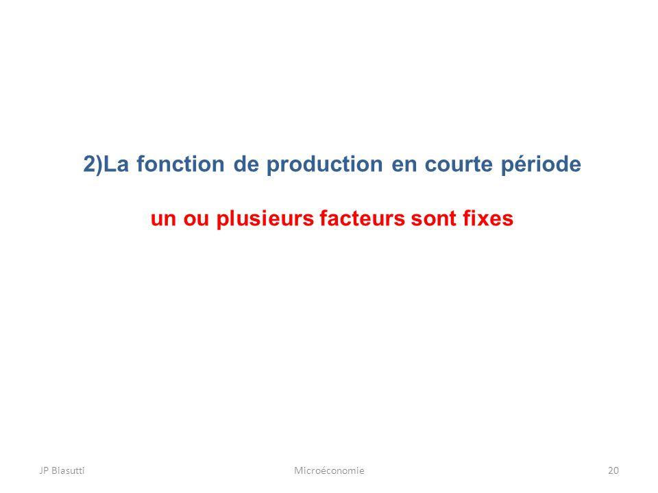 2)La fonction de production en courte période un ou plusieurs facteurs sont fixes