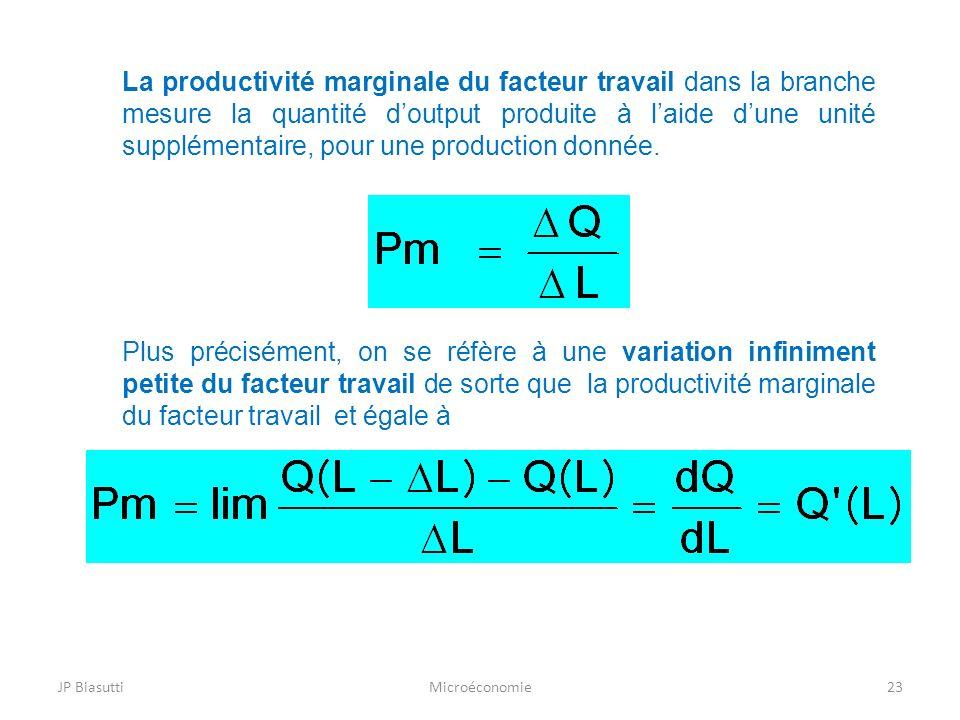 La productivité marginale du facteur travail dans la branche mesure la quantité d'output produite à l'aide d'une unité supplémentaire, pour une production donnée.