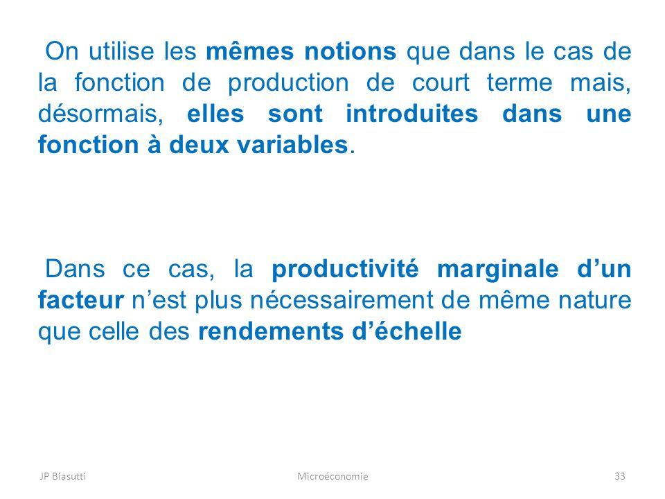 On utilise les mêmes notions que dans le cas de la fonction de production de court terme mais, désormais, elles sont introduites dans une fonction à deux variables.