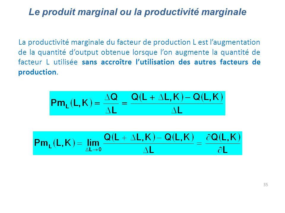 Le produit marginal ou la productivité marginale