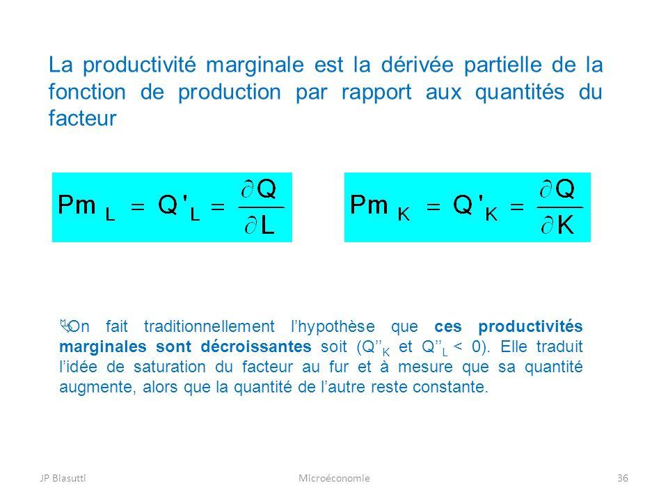 La productivité marginale est la dérivée partielle de la fonction de production par rapport aux quantités du facteur