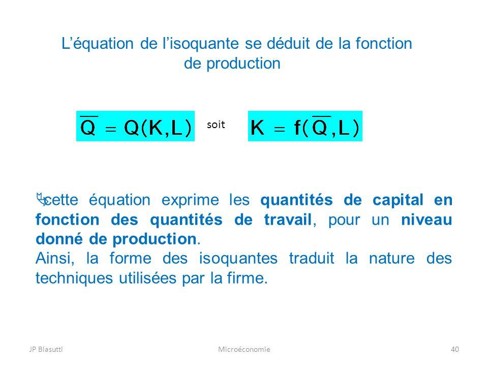 L'équation de l'isoquante se déduit de la fonction de production