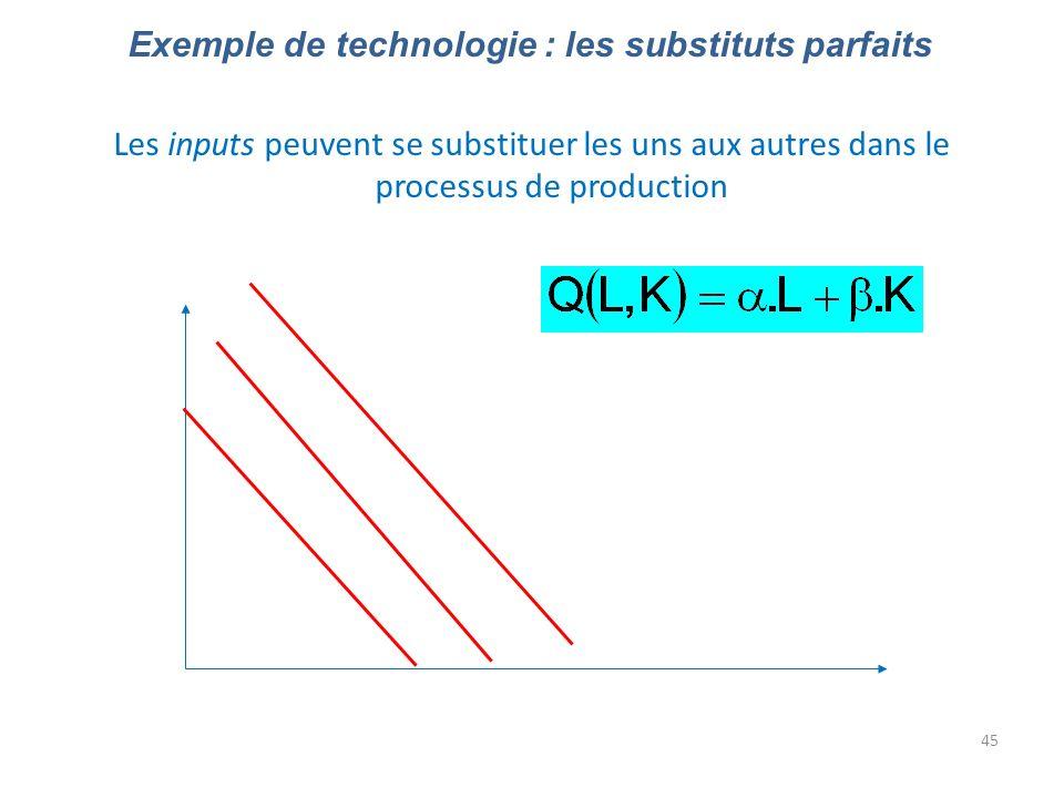 Exemple de technologie : les substituts parfaits