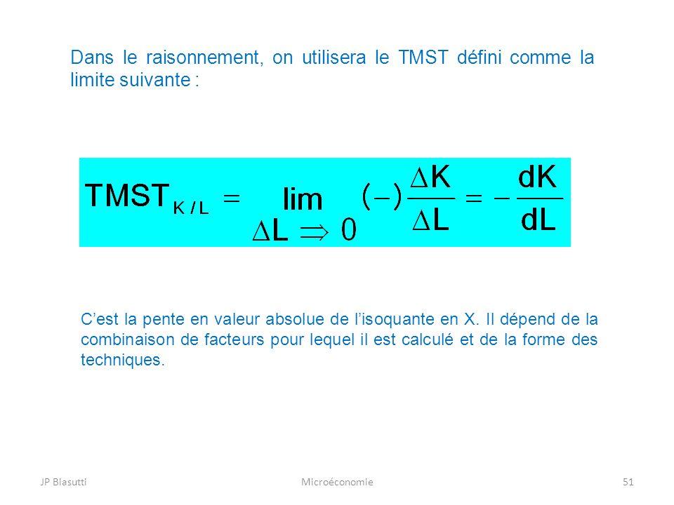 Dans le raisonnement, on utilisera le TMST défini comme la limite suivante :