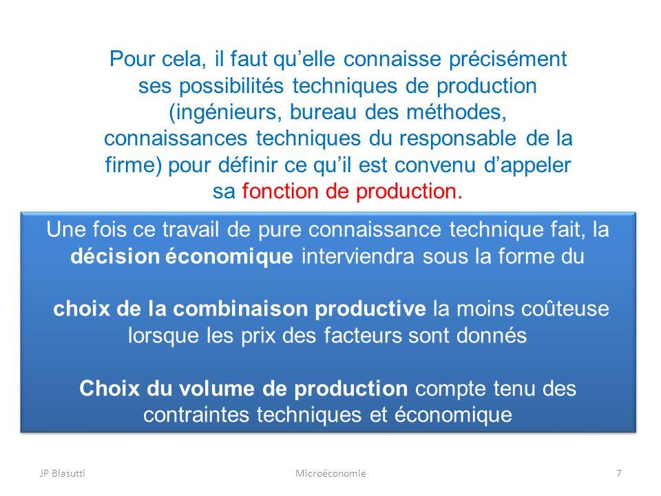 Pour cela, il faut qu'elle connaisse précisément ses possibilités techniques de production (ingénieurs, bureau des méthodes, connaissances techniques du responsable de la firme) pour définir ce qu'il est convenu d'appeler sa fonction de production.