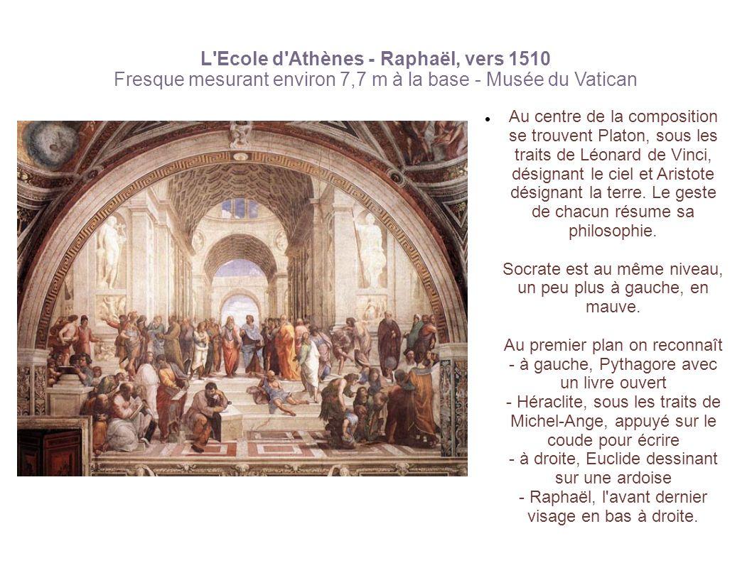 L Ecole d Athènes - Raphaël, vers 1510 Fresque mesurant environ 7,7 m à la base - Musée du Vatican