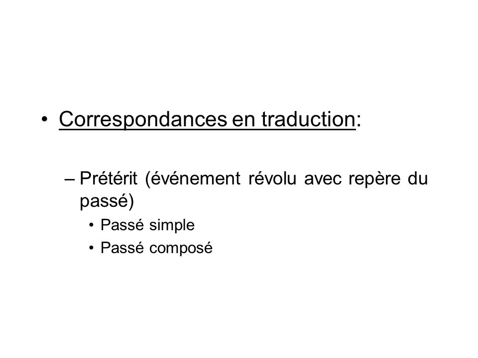 Correspondances en traduction: