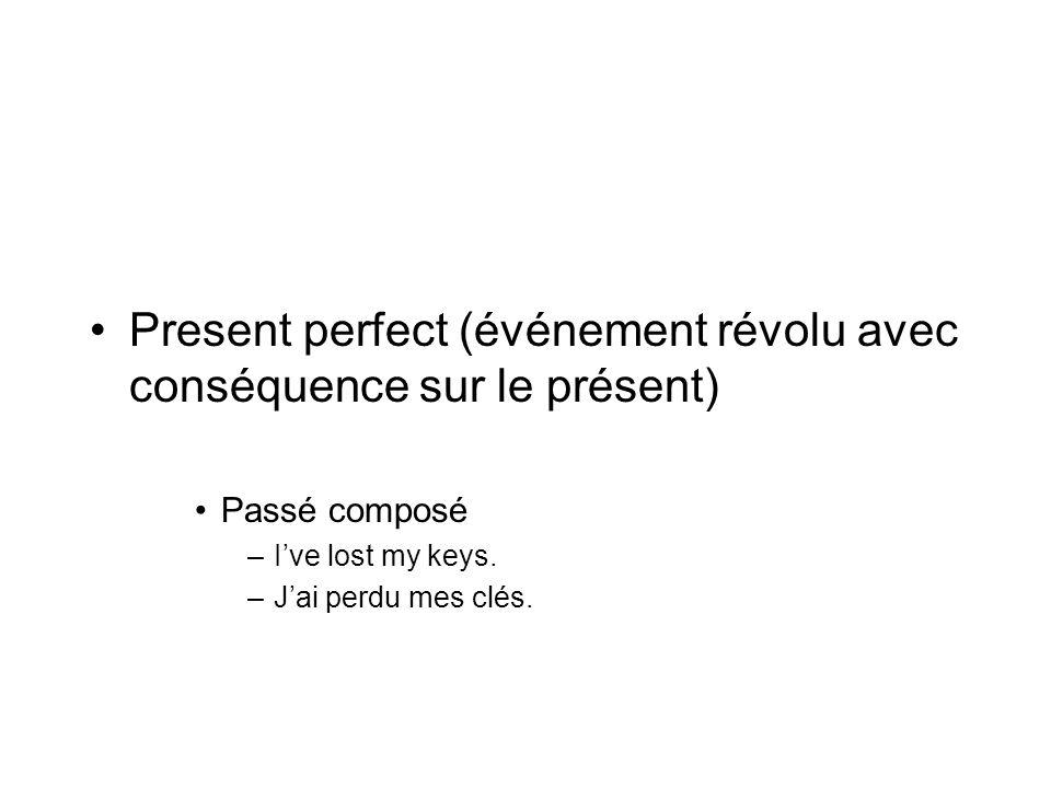 Present perfect (événement révolu avec conséquence sur le présent)