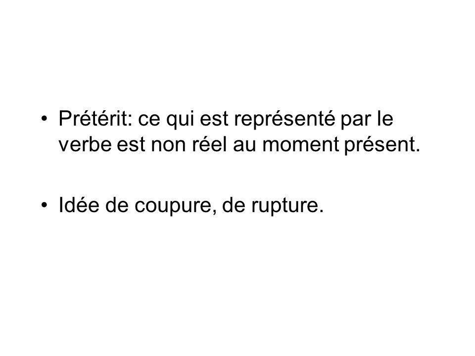 Prétérit: ce qui est représenté par le verbe est non réel au moment présent.