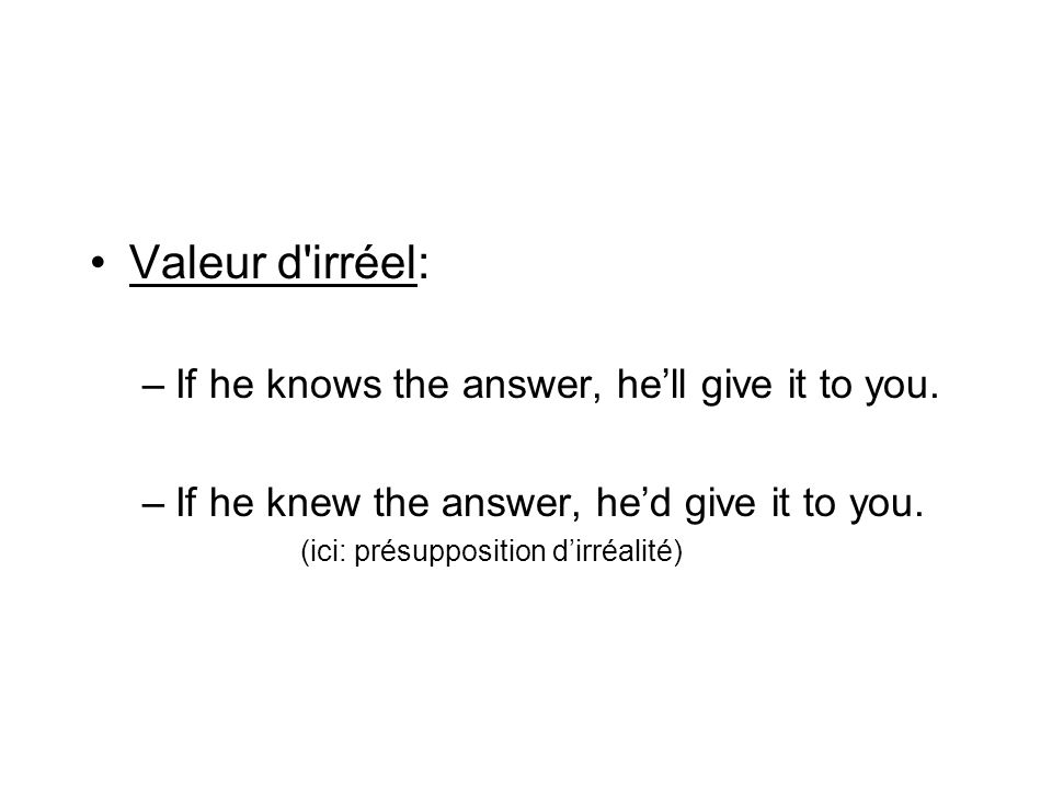 Valeur d irréel: If he knows the answer, he'll give it to you.