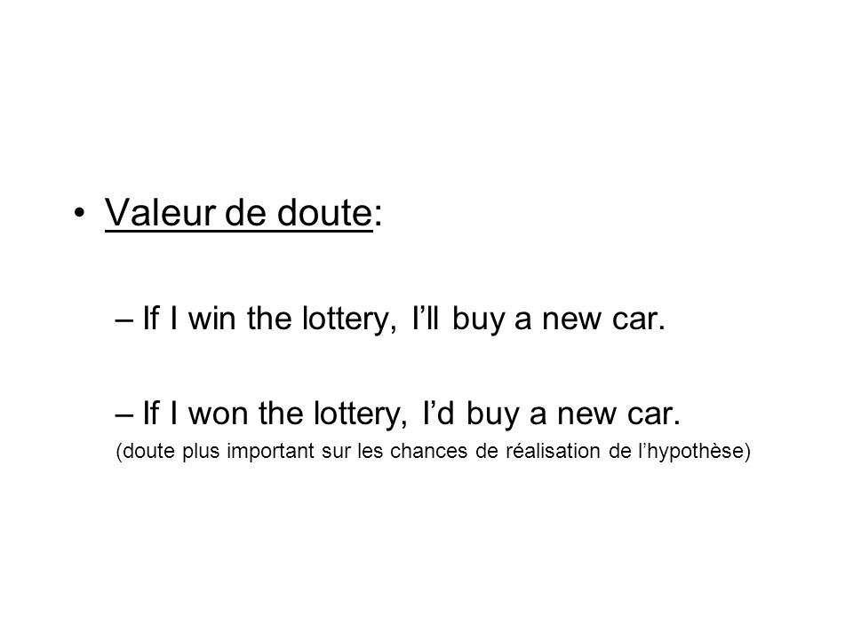 Valeur de doute: If I win the lottery, I'll buy a new car.