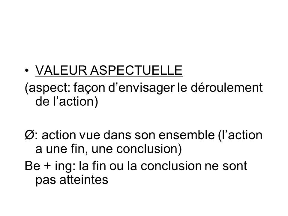 VALEUR ASPECTUELLE (aspect: façon d'envisager le déroulement de l'action) Ø: action vue dans son ensemble (l'action a une fin, une conclusion)