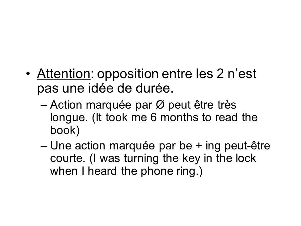 Attention: opposition entre les 2 n'est pas une idée de durée.