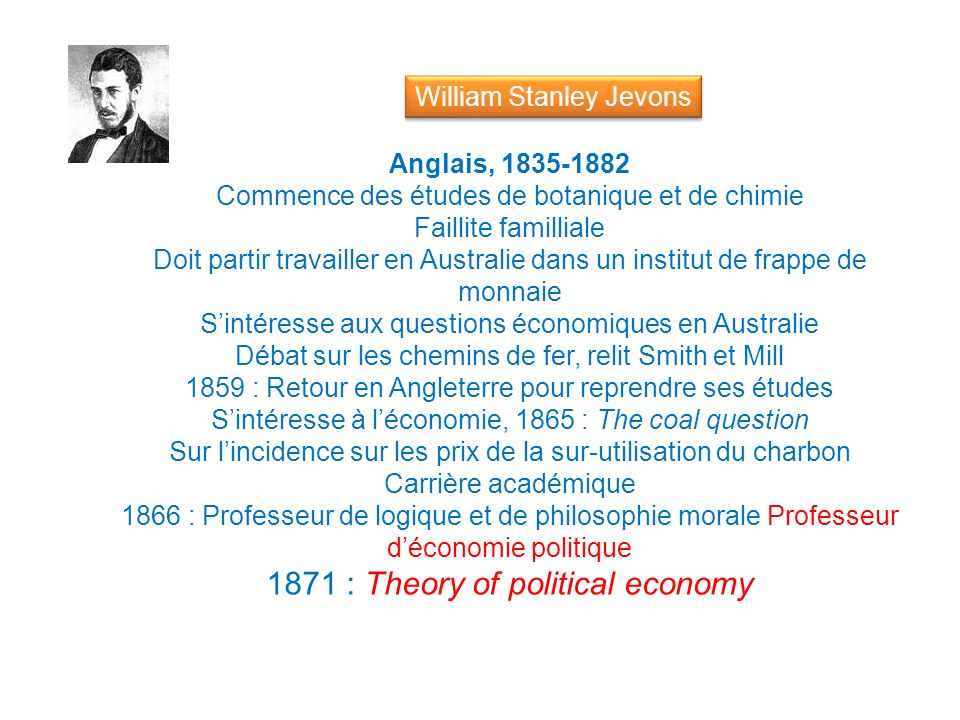 1871 : Theory of political economy