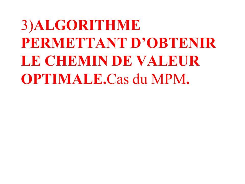 3)ALGORITHME PERMETTANT D'OBTENIR LE CHEMIN DE VALEUR OPTIMALE