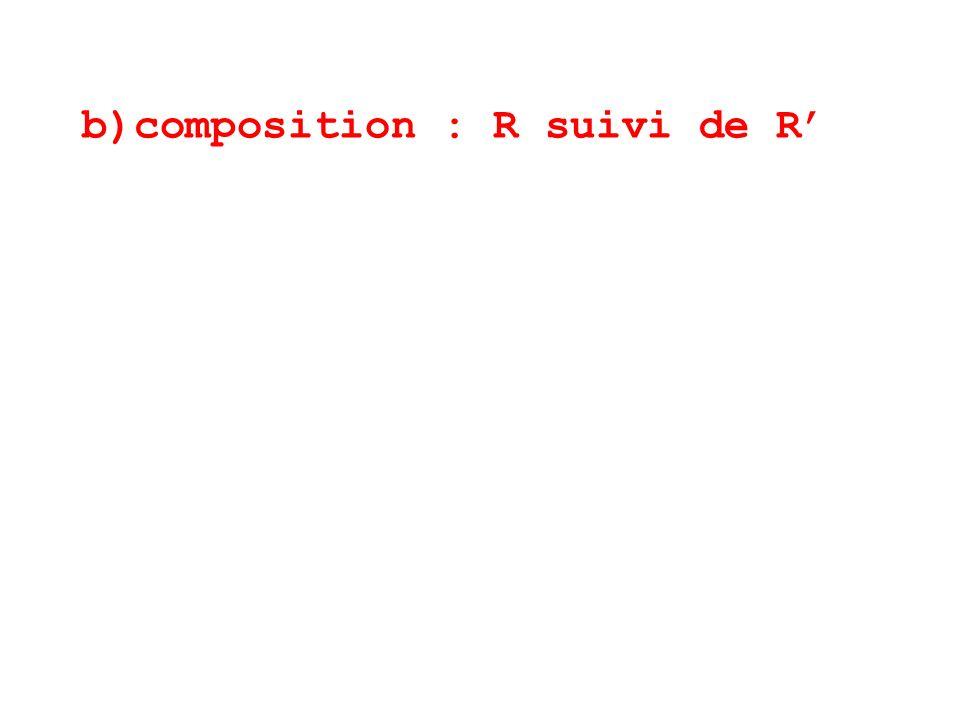 b)composition : R suivi de R'