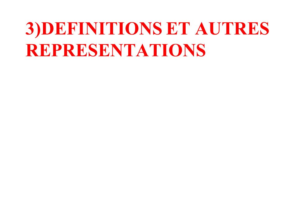 3)DEFINITIONS ET AUTRES REPRESENTATIONS