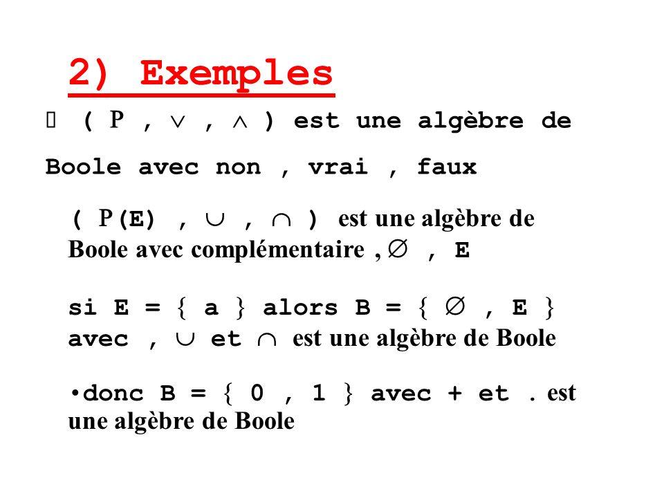 Ø (  ,  ,  ) est une algèbre de Boole avec non , vrai , faux