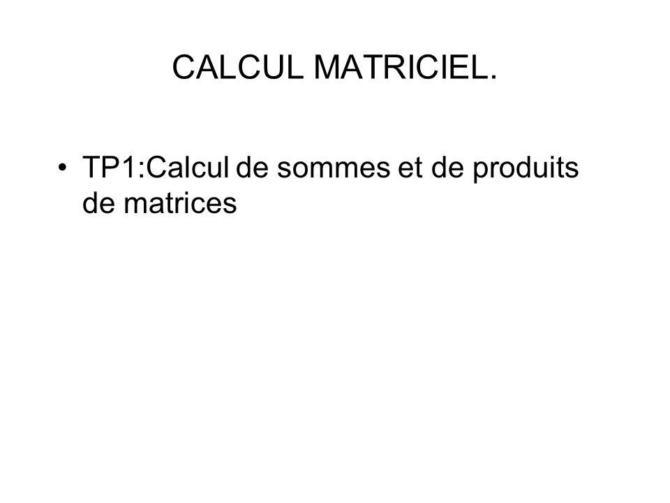 CALCUL MATRICIEL. TP1:Calcul de sommes et de produits de matrices