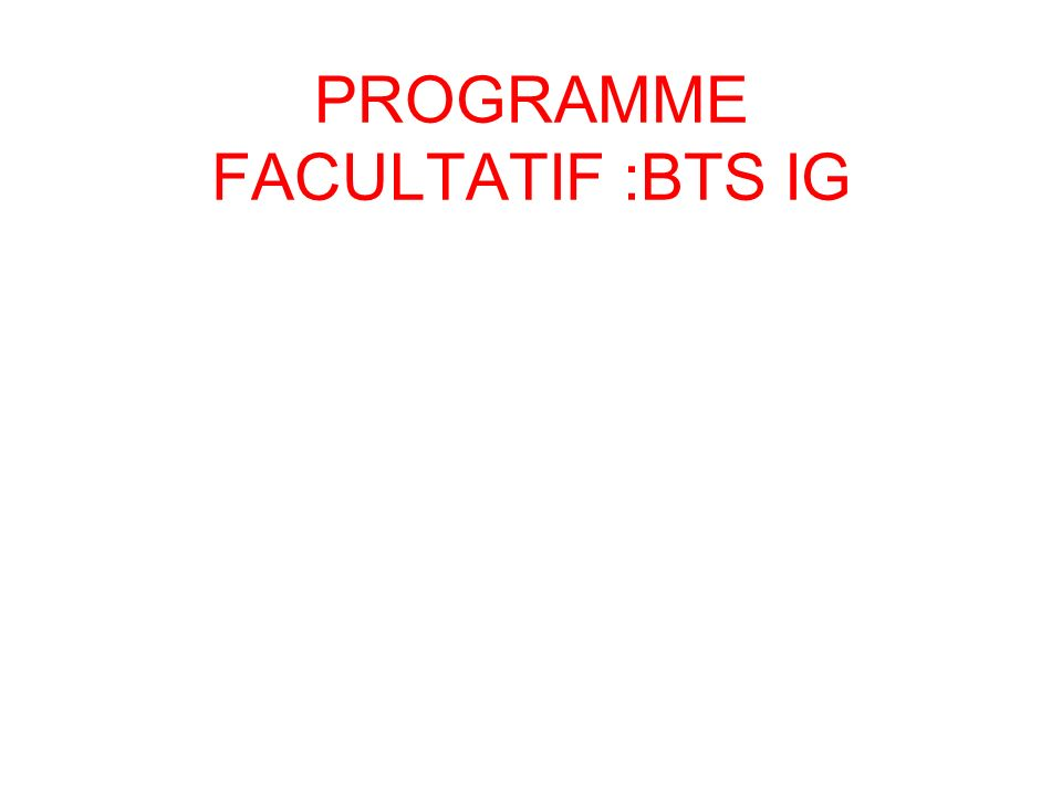 PROGRAMME FACULTATIF :BTS IG