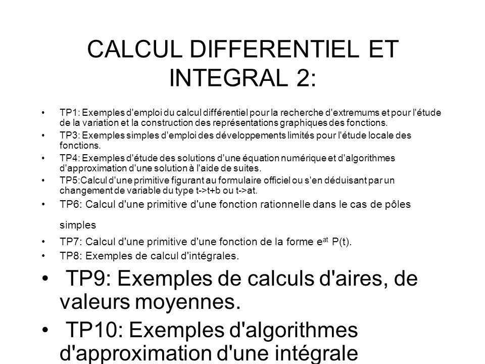 CALCUL DIFFERENTIEL ET INTEGRAL 2:
