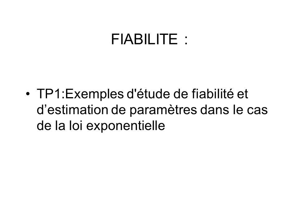 FIABILITE : TP1:Exemples d étude de fiabilité et d'estimation de paramètres dans le cas de la loi exponentielle.