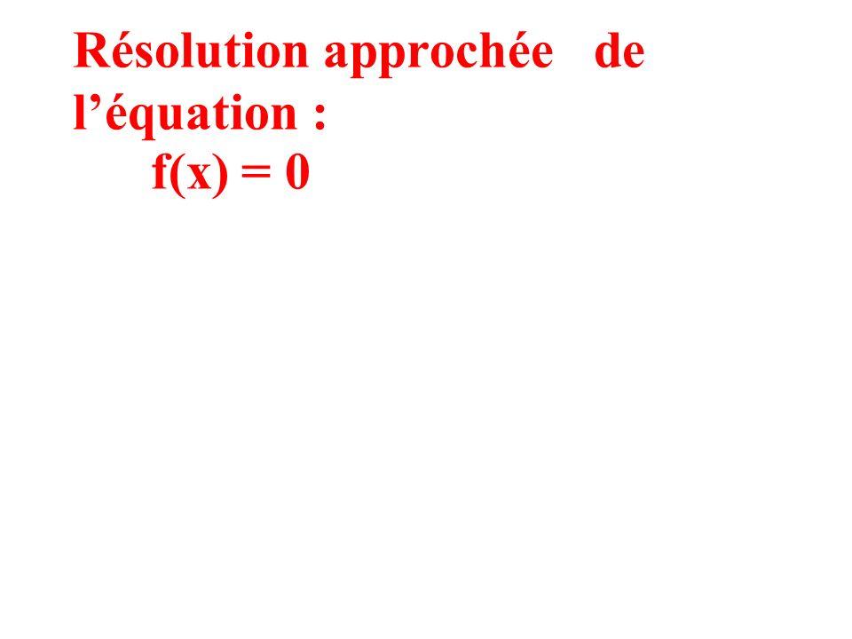 Résolution approchée de l'équation : f(x) = 0